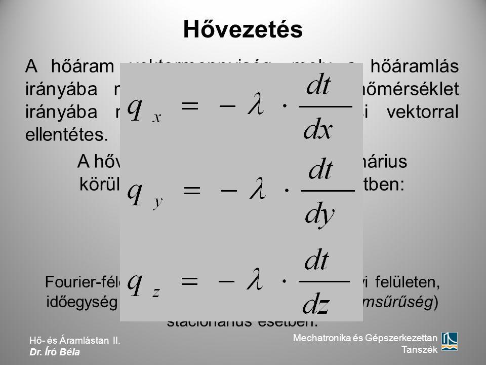 Hővezetés Fourier-féle tapasztalati törvény az egységnyi felületen, időegység alatt átvitt hőmennyiségre (hőáramsűrűség) stacionárius esetben. A hőára