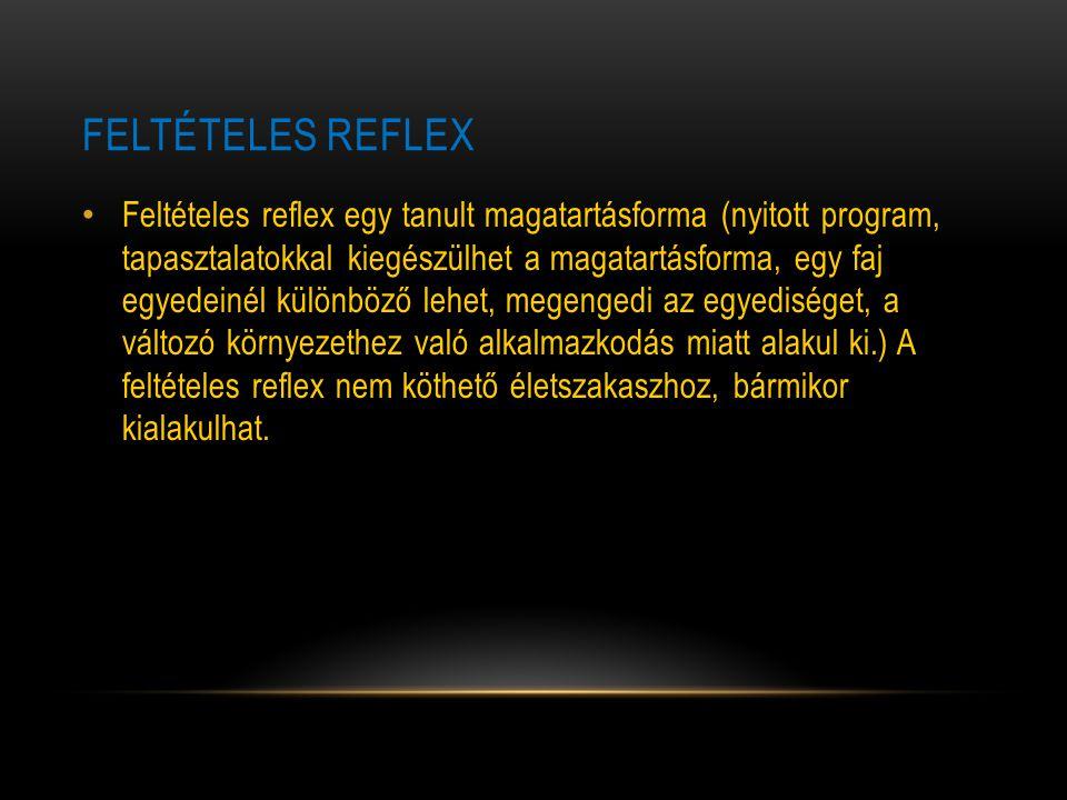 FELTÉTELES REFLEX Feltételes reflex egy tanult magatartásforma (nyitott program, tapasztalatokkal kiegészülhet a magatartásforma, egy faj egyedeinél k
