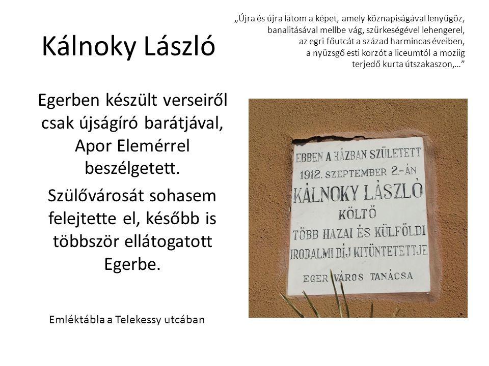 Kálnoky László Egerben készült verseiről csak újságíró barátjával, Apor Elemérrel beszélgetett. Szülővárosát sohasem felejtette el, később is többször
