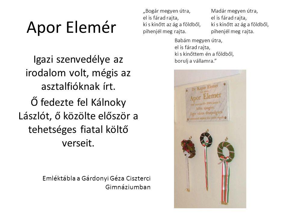 Apor Elemér Igazi szenvedélye az irodalom volt, mégis az asztalfióknak írt. Ő fedezte fel Kálnoky Lászlót, ő közölte először a tehetséges fiatal költő