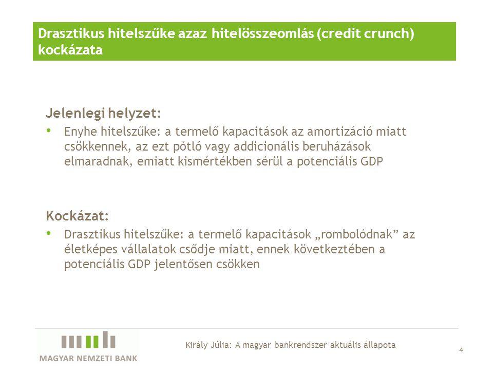 Drasztikus hitelszűke kockázata A régiós összehasonlításban nagymértékű és gyors külföldi forráskiáramlás tovább folytatódik vagy gyorsul Forráskiáramlás A bankrendszer nagymértékű devizaswap-piaci ráutaltsága Swappiaci feszültségek Tovább rosszabbodó vállalati hitelportfólió Romló vállalati hitelportfólió Király Júlia: A magyar bankrendszer aktuális állapota
