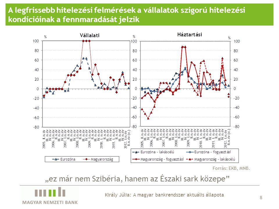 """A legfrissebb hitelezési felmérések a vállalatok szigorú hitelezési kondícióinak a fennmaradását jelzik Forrás: EKB, MNB. 8 """"ez már nem Szibéria, hane"""