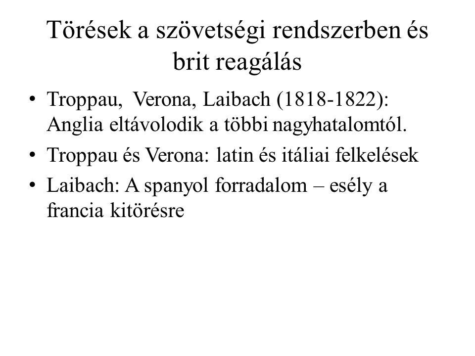 Törések a szövetségi rendszerben és brit reagálás Troppau, Verona, Laibach (1818-1822): Anglia eltávolodik a többi nagyhatalomtól. Troppau és Verona: