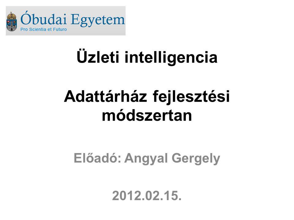 Üzleti intelligencia Adattárház fejlesztési módszertan Előadó: Angyal Gergely 2012.02.15.
