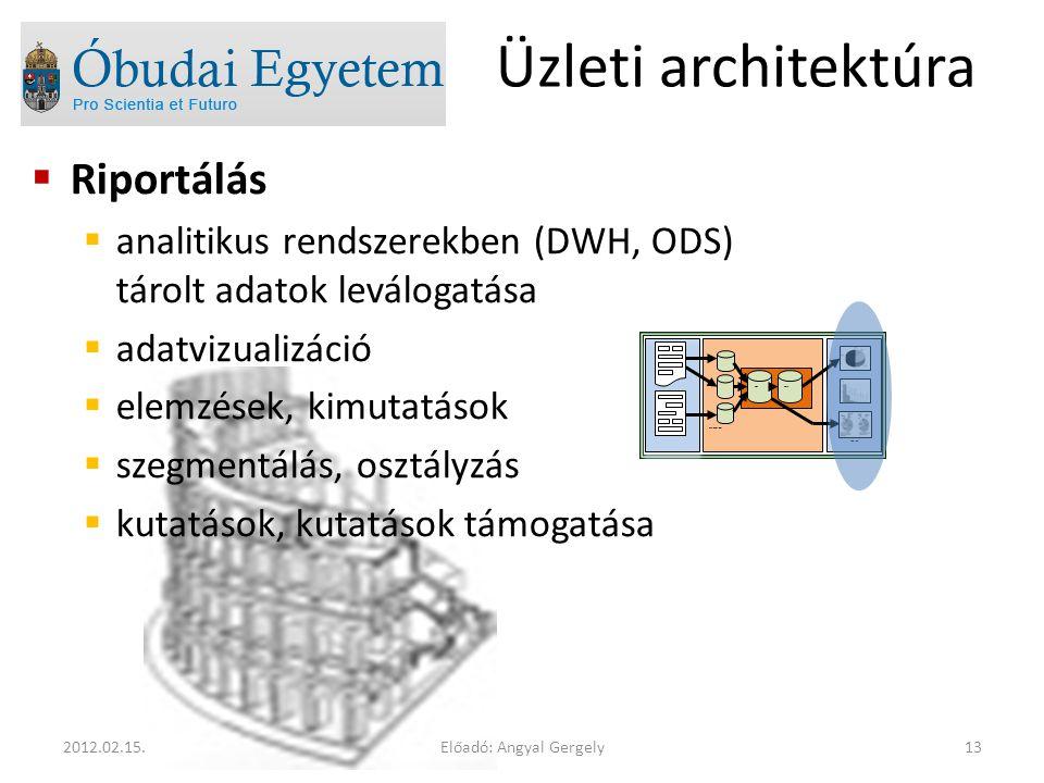  Riportálás  analitikus rendszerekben (DWH, ODS) tárolt adatok leválogatása  adatvizualizáció  elemzések, kimutatások  szegmentálás, osztályzás 
