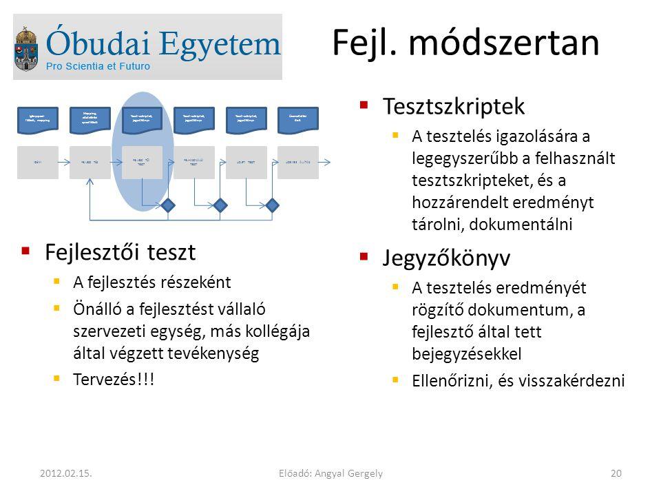 Előadó: Angyal Gergely202012.02.15. Fejl. módszertan  Fejlesztői teszt  A fejlesztés részeként  Önálló a fejlesztést vállaló szervezeti egység, más