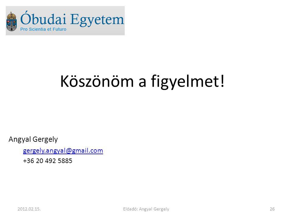 Köszönöm a figyelmet! Angyal Gergely gergely.angyal@gmail.com +36 20 492 5885 Előadó: Angyal Gergely262012.02.15.