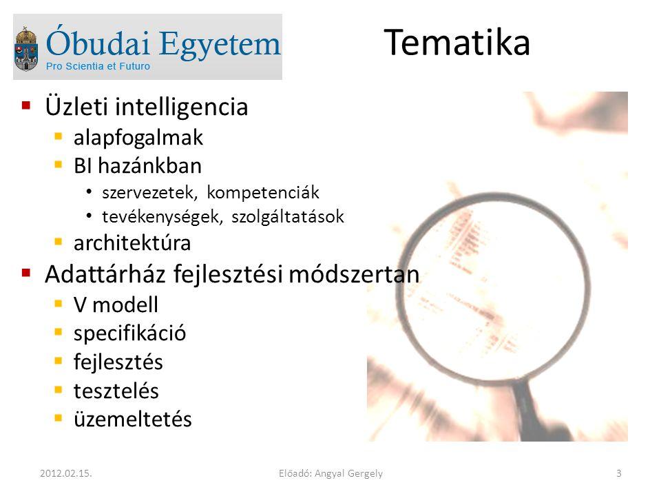 Tematika  Üzleti intelligencia  alapfogalmak  BI hazánkban szervezetek, kompetenciák tevékenységek, szolgáltatások  architektúra  Adattárház fejlesztési módszertan  V modell  specifikáció  fejlesztés  tesztelés  üzemeltetés Előadó: Angyal Gergely32012.02.15.