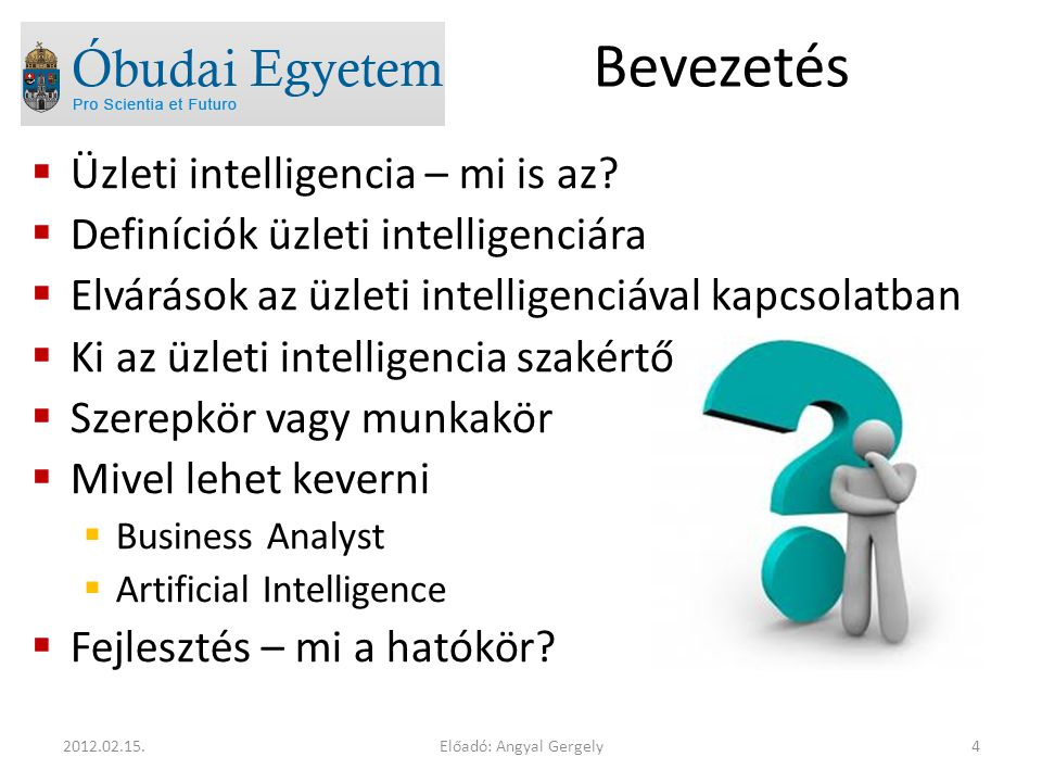Bevezetés  Üzleti intelligencia – mi is az?  Definíciók üzleti intelligenciára  Elvárások az üzleti intelligenciával kapcsolatban  Ki az üzleti in