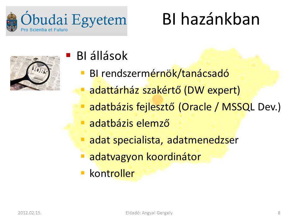  BI állások  BI rendszermérnök/tanácsadó  adattárház szakértő (DW expert)  adatbázis fejlesztő (Oracle / MSSQL Dev.)  adatbázis elemző  adat spe