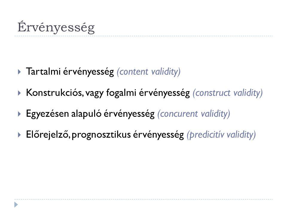Érvényesség  Tartalmi érvényesség (content validity)  Konstrukciós, vagy fogalmi érvényesség (construct validity)  Egyezésen alapuló érvényesség (concurent validity)  Előrejelző, prognosztikus érvényesség (predicitív validity)