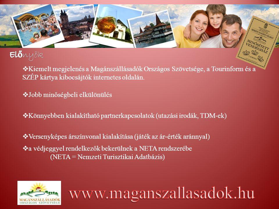KK iemelt megjelenés a Magánszállásadók Országos Szövetsége, a Tourinform és a SZÉP kártya kibocsájtók internetes oldalán.