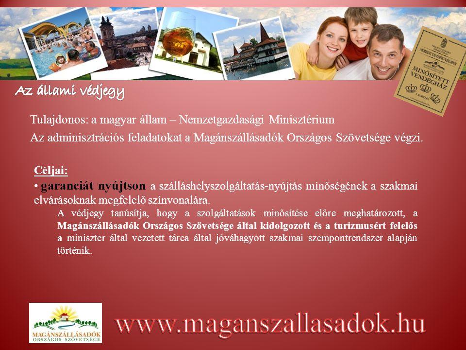 Tulajdonos: a magyar állam – Nemzetgazdasági Minisztérium Az adminisztrációs feladatokat a Magánszállásadók Országos Szövetsége végzi.