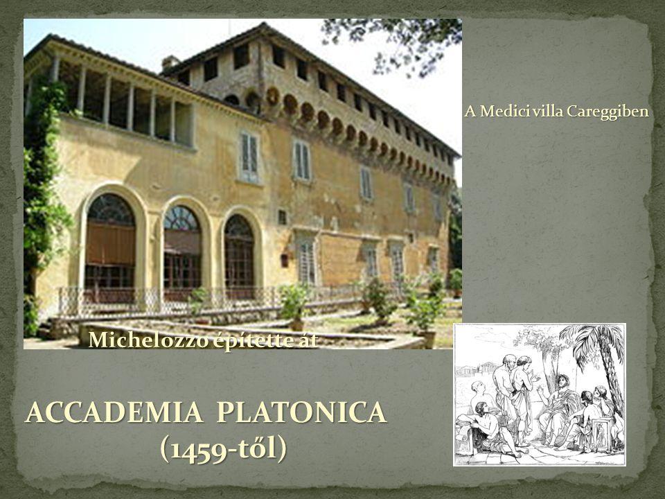 A Medici villa Careggiben ACCADEMIA PLATONICA (1459-től) (1459-től) Michelozzo építette át