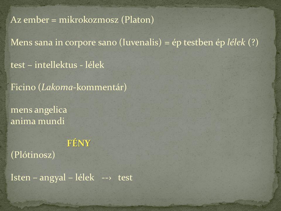 Az ember = mikrokozmosz (Platon) Mens sana in corpore sano (Iuvenalis) = ép testben ép lélek (?) test – intellektus - lélek Ficino (Lakoma-kommentár) mens angelica anima mundi FÉNY FÉNY (Plótinosz) Isten – angyal – lélek --› test