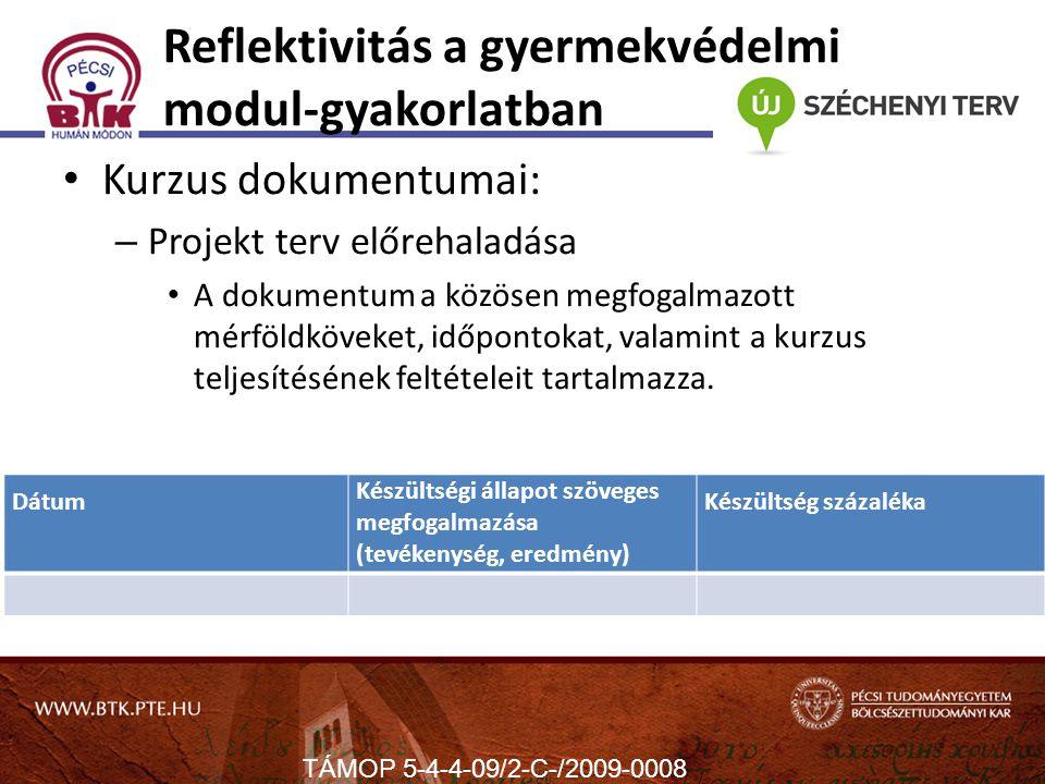 Reflektivitás a gyermekvédelmi modul-gyakorlatban Kurzus dokumentumai: – Projekt terv előrehaladása A dokumentum a közösen megfogalmazott mérföldköveket, időpontokat, valamint a kurzus teljesítésének feltételeit tartalmazza.