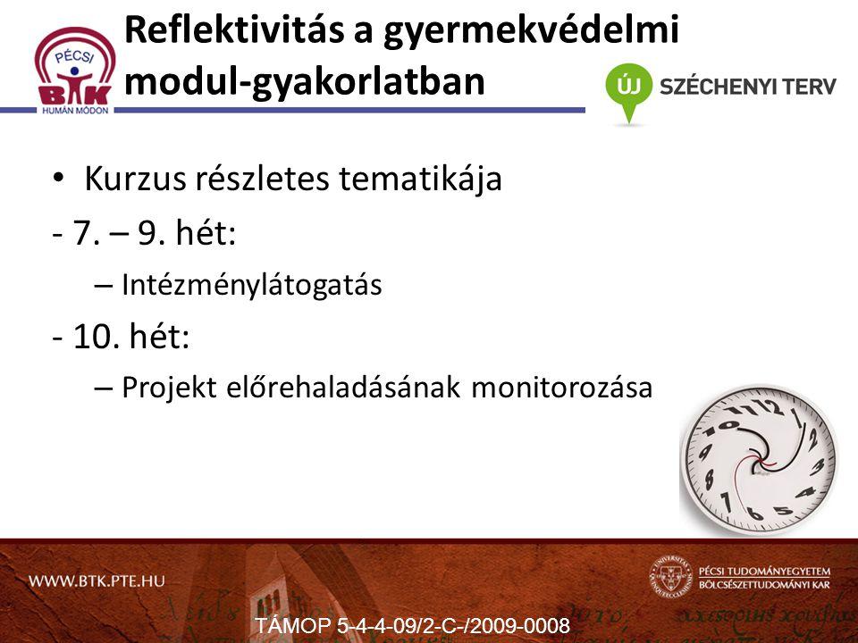 Reflektivitás a gyermekvédelmi modul-gyakorlatban Kurzus részletes tematikája - 7.