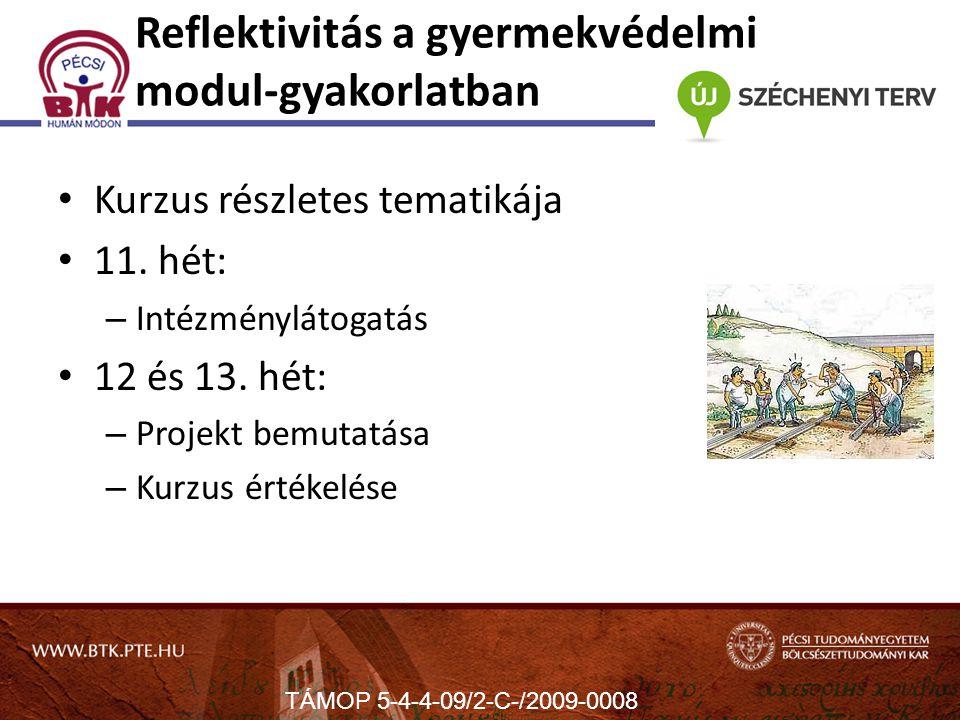 Reflektivitás a gyermekvédelmi modul-gyakorlatban Kurzus részletes tematikája 11.