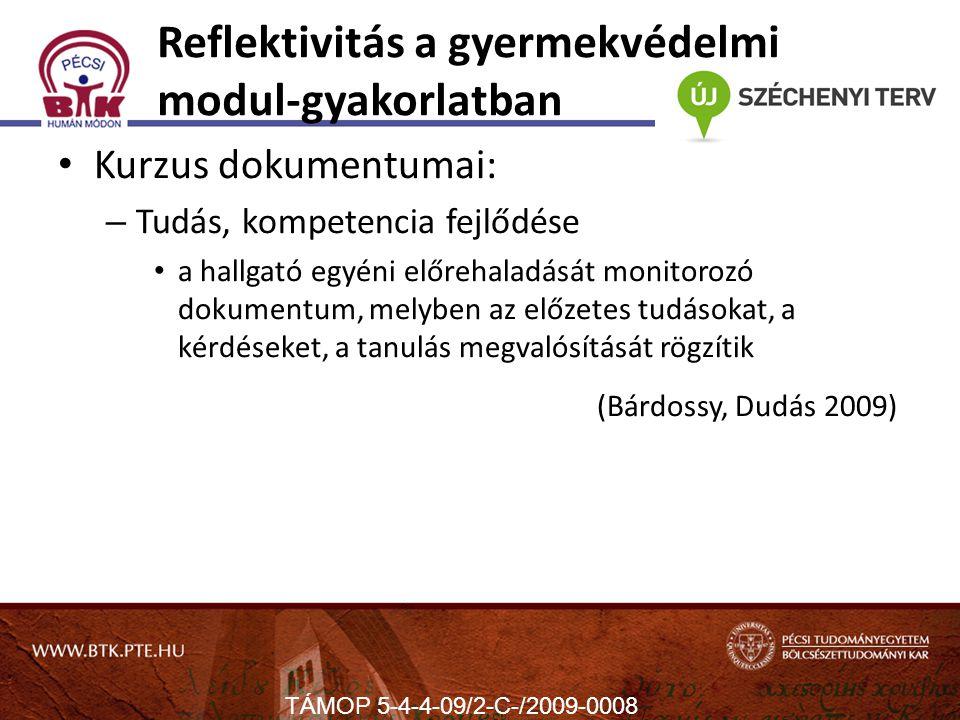 Reflektivitás a gyermekvédelmi modul-gyakorlatban Kurzus dokumentumai: – Tudás, kompetencia fejlődése a hallgató egyéni előrehaladását monitorozó dokumentum, melyben az előzetes tudásokat, a kérdéseket, a tanulás megvalósítását rögzítik (Bárdossy, Dudás 2009) TÁMOP 5-4-4-09/2-C-/2009-0008