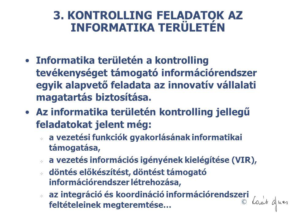 © 3. KONTROLLING FELADATOK AZ INFORMATIKA TERÜLETÉN Informatika területén a kontrolling tevékenységet támogató információrendszer egyik alapvető felad
