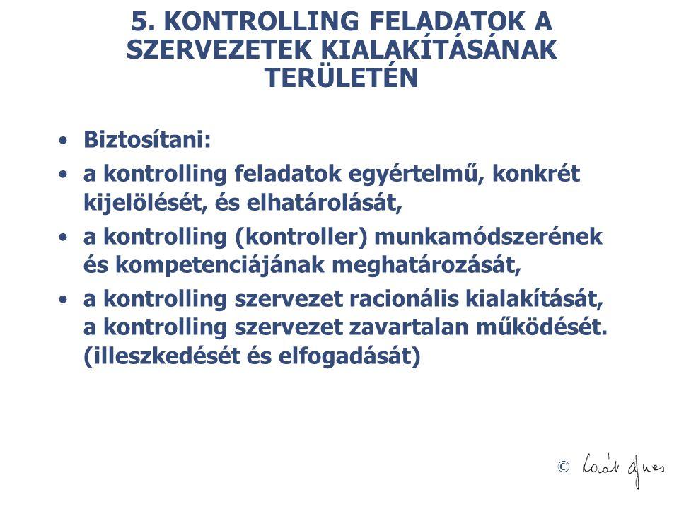 © 5. KONTROLLING FELADATOK A SZERVEZETEK KIALAKÍTÁSÁNAK TERÜLETÉN Biztosítani: a kontrolling feladatok egyértelmű, konkrét kijelölését, és elhatárolás