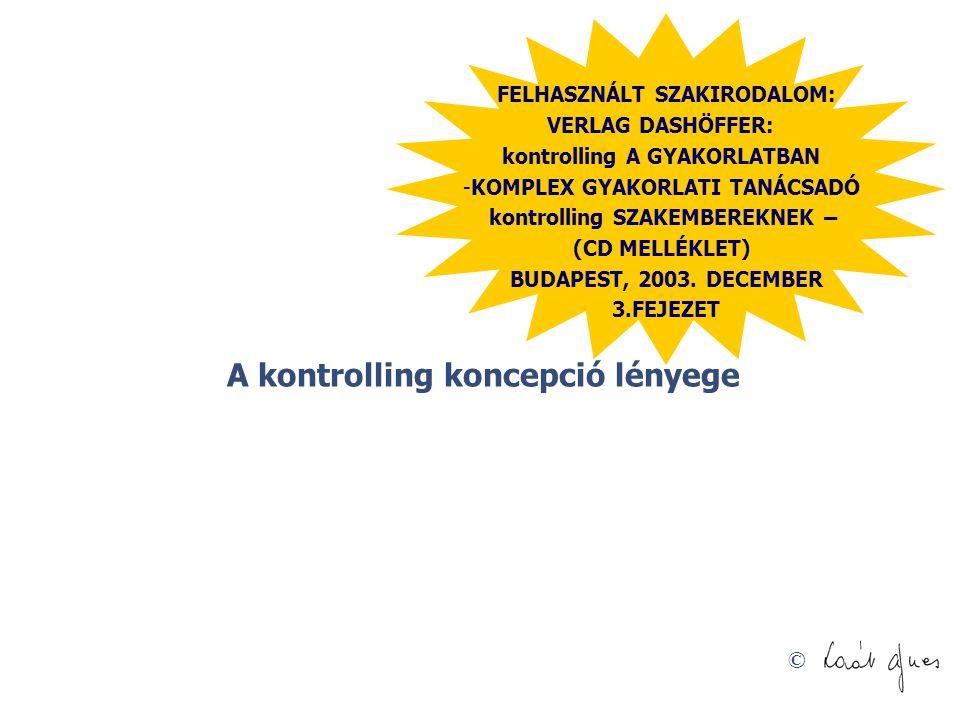 © A kontrolling koncepció lényege FELHASZNÁLT SZAKIRODALOM: VERLAG DASHÖFFER: kontrolling A GYAKORLATBAN -KOMPLEX GYAKORLATI TANÁCSADÓ kontrolling SZA