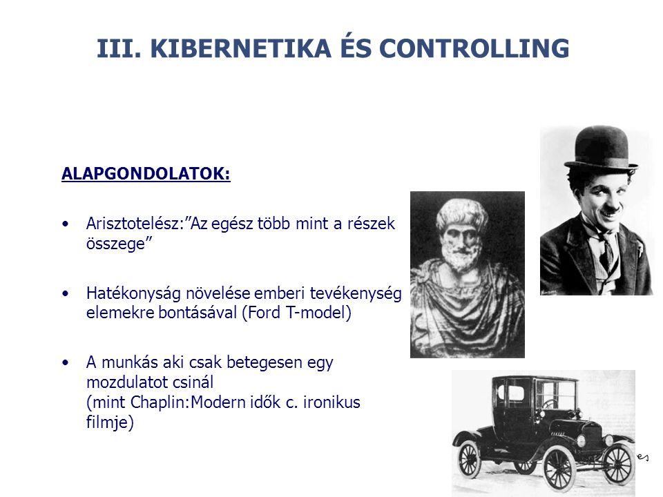 """© III. KIBERNETIKA ÉS CONTROLLING ALAPGONDOLATOK: Arisztotelész:""""Az egész több mint a részek összege"""" Hatékonyság növelése emberi tevékenység elemekre"""