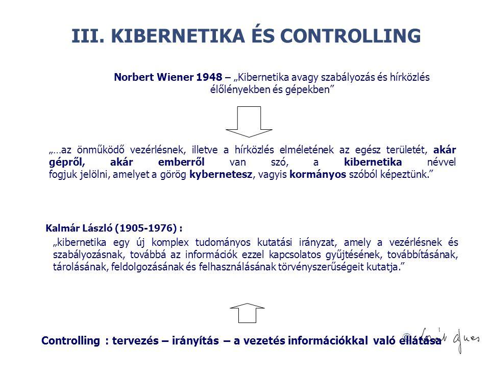 """© III. KIBERNETIKA ÉS CONTROLLING Norbert Wiener 1948 – """"Kibernetika avagy szabályozás és hírközlés élőlényekben és gépekben"""" """"…az önműködő vezérlésne"""