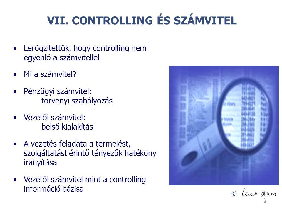 © VII. CONTROLLING ÉS SZÁMVITEL Lerögzítettük, hogy controlling nem egyenlő a számvitellel Mi a számvitel? Pénzügyi számvitel: törvényi szabályozás Ve