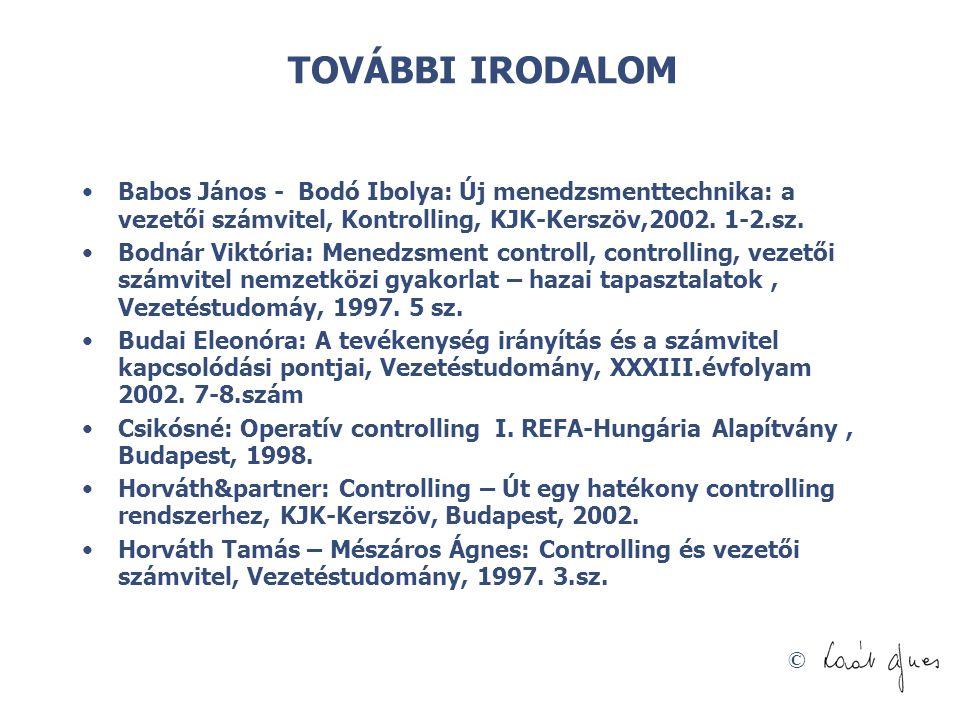 © TOVÁBBI IRODALOM Babos János - Bodó Ibolya: Új menedzsmenttechnika: a vezetői számvitel, Kontrolling, KJK-Kerszöv,2002. 1-2.sz. Bodnár Viktória: Men