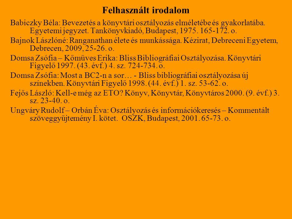 Babiczky Béla: Bevezetés a könyvtári osztályozás elméletébe és gyakorlatába. Egyetemi jegyzet. Tankönyvkiadó, Budapest, 1975. 165-172. o. Bajnok Lászl