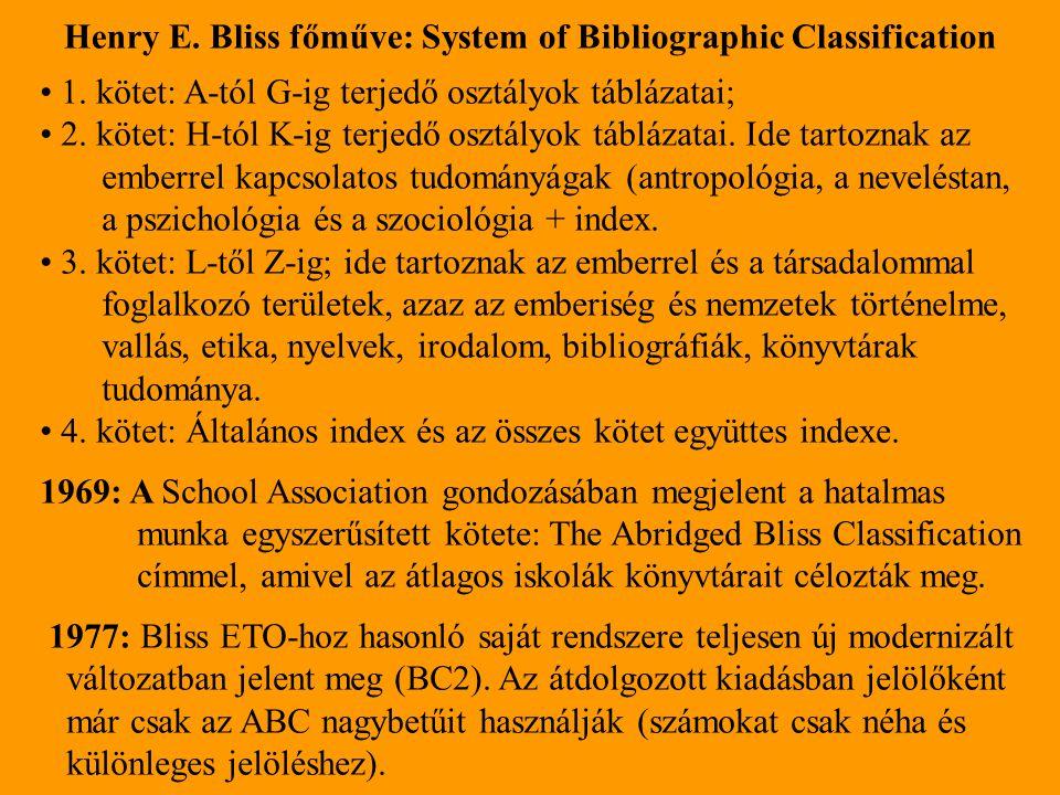 Henry E. Bliss főműve: System of Bibliographic Classification 1. kötet: A-tól G-ig terjedő osztályok táblázatai; 2. kötet: H-tól K-ig terjedő osztályo