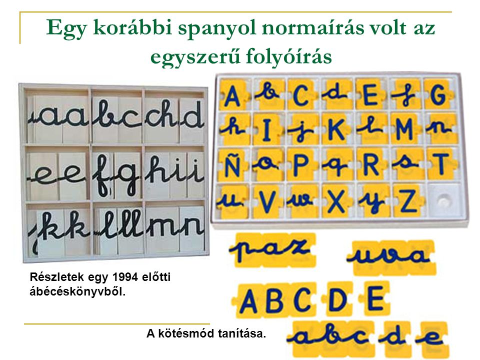Egy korábbi spanyol normaírás volt az egyszerű folyóírás Részletek egy 1994 előtti ábécéskönyvből. A kötésmód tanítása.