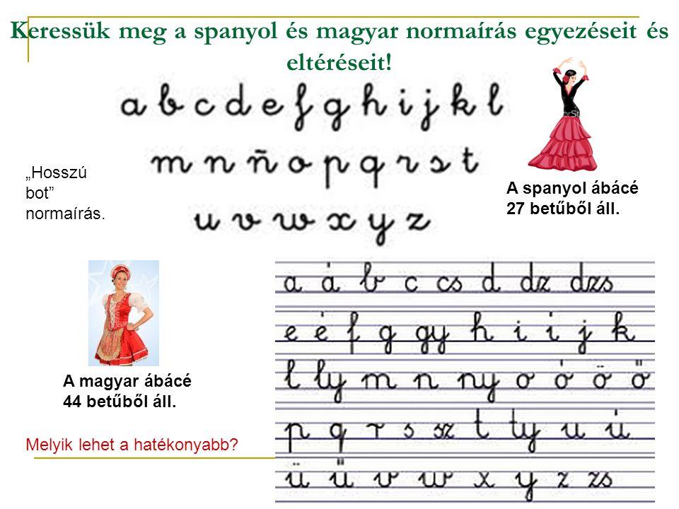 """Keressük meg a spanyol és magyar normaírás egyezéseit és eltéréseit! A spanyol ábácé 27 betűből áll. A magyar ábácé 44 betűből áll. """"Hosszú bot"""" norma"""