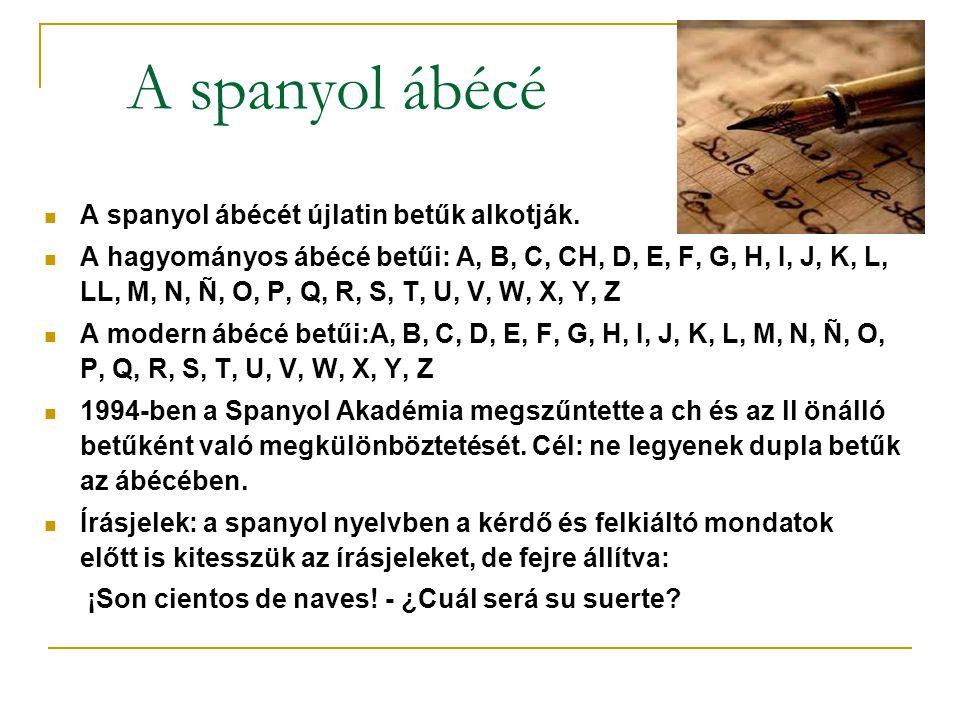 A spanyol ábécé A spanyol ábécét újlatin betűk alkotják. A hagyományos ábécé betűi: A, B, C, CH, D, E, F, G, H, I, J, K, L, LL, M, N, Ñ, O, P, Q, R, S