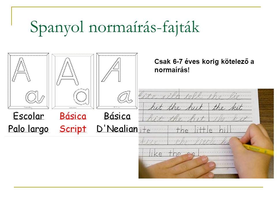 Spanyol normaírás-fajták Csak 6-7 éves korig kötelező a normaírás!