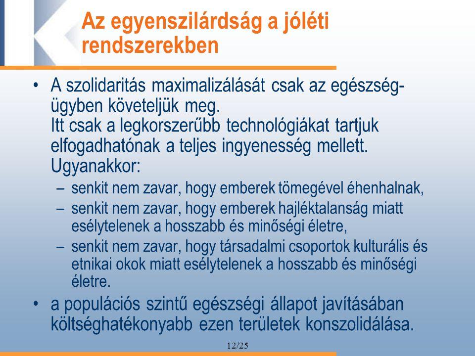 12/25 Az egyenszilárdság a jóléti rendszerekben A szolidaritás maximalizálását csak az egészség- ügyben követeljük meg.