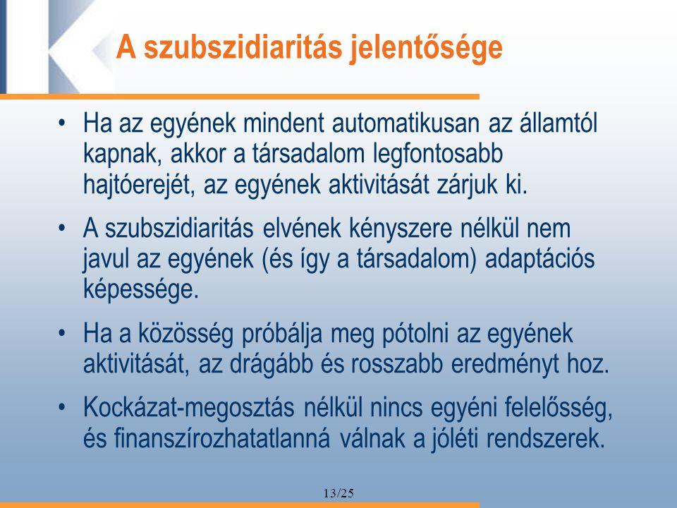13/25 A szubszidiaritás jelentősége Ha az egyének mindent automatikusan az államtól kapnak, akkor a társadalom legfontosabb hajtóerejét, az egyének aktivitását zárjuk ki.