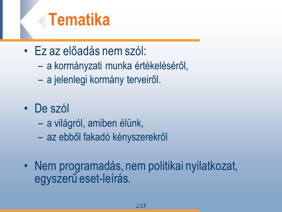 2/25 Tematika Ez az előadás nem szól: –a kormányzati munka értékeléséről, –a jelenlegi kormány terveiről.