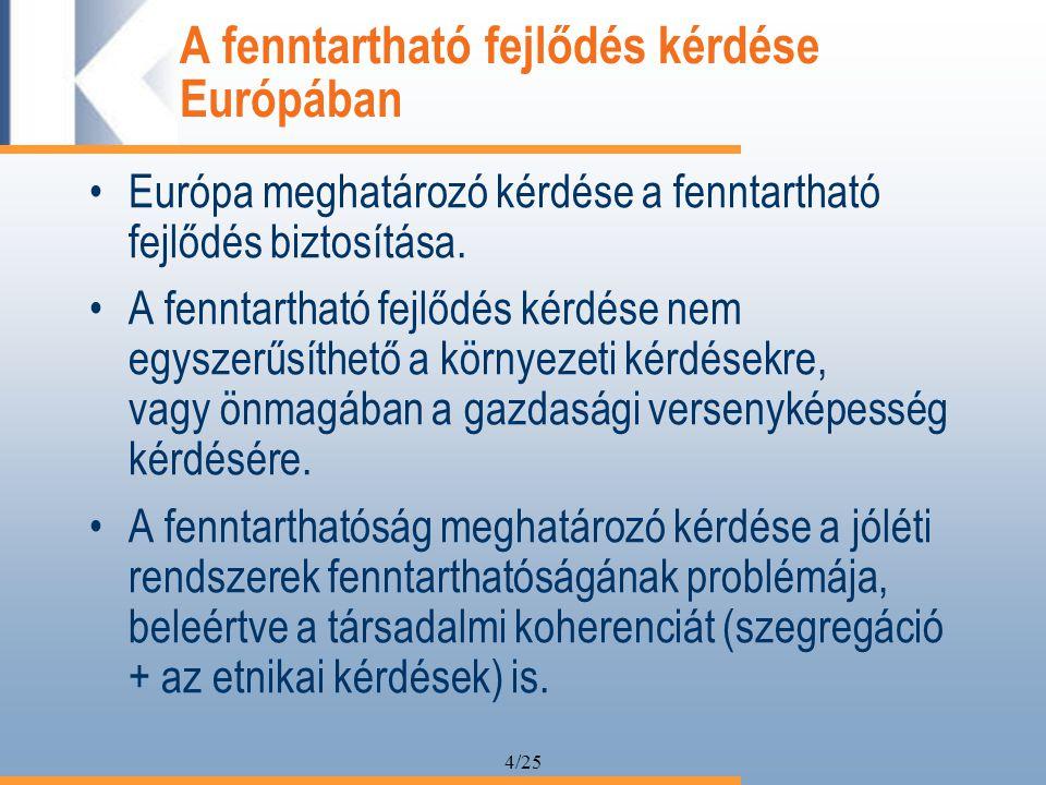 4/25 A fenntartható fejlődés kérdése Európában Európa meghatározó kérdése a fenntartható fejlődés biztosítása.