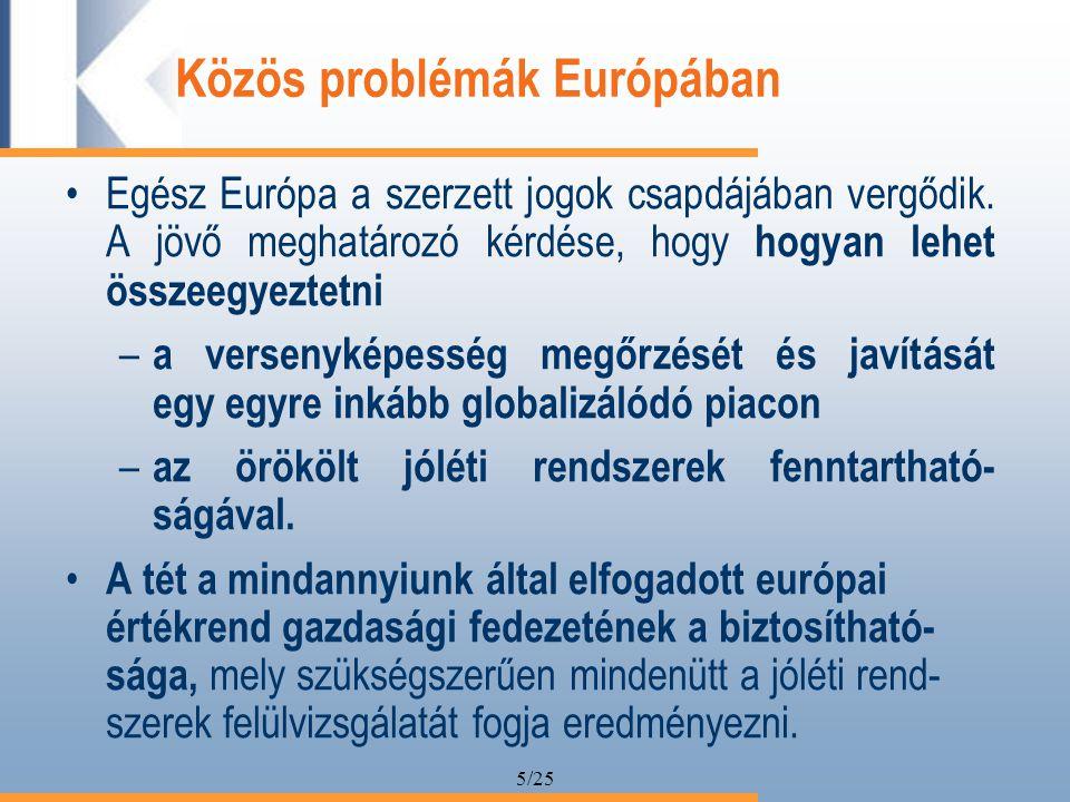 5/25 Közös problémák Európában Egész Európa a szerzett jogok csapdájában vergődik.
