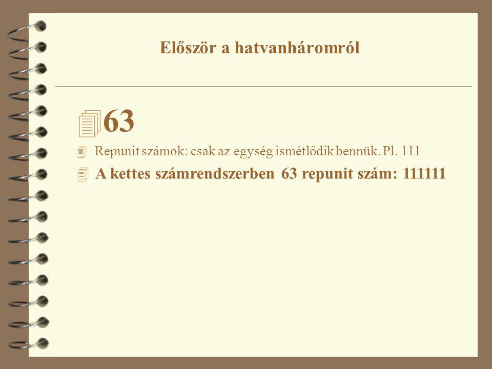 4 63 4 Repunit számok: csak az egység ismétlődik bennük.
