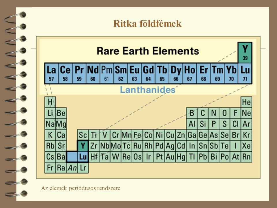 4 A periódusos rendszerben az 57-es rendszámú elem (lantán) helyén 14 további elem helyezkedik el, hasonló külső tulajdonságokkal.