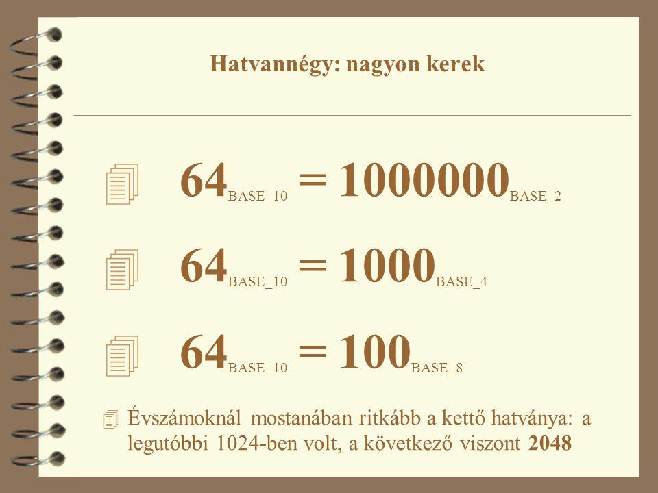 4 64 BASE_10 = 1000000 BASE_2 4 64 BASE_10 = 1000 BASE_4 4 64 BASE_10 = 100 BASE_8 4 Évszámoknál mostanában ritkább a kettő hatványa: a legutóbbi 1024-ben volt, a következő viszont 2048 Hatvannégy: nagyon kerek