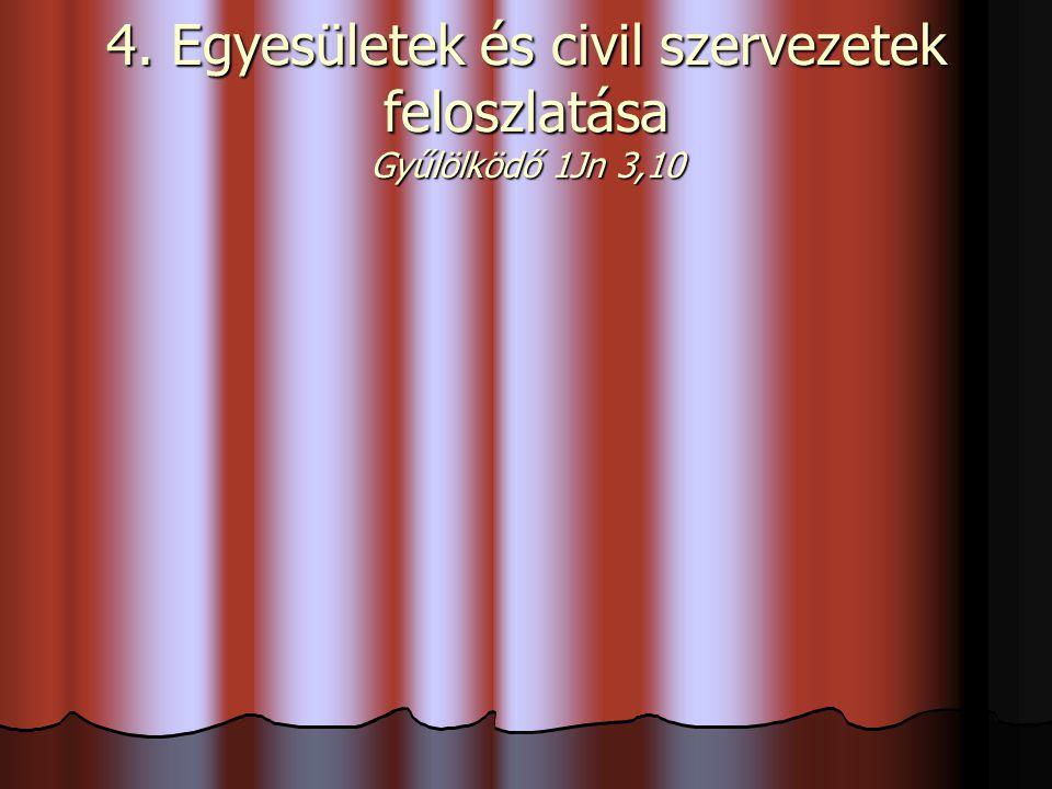 4. Egyesületek és civil szervezetek feloszlatása Gyűlölködő 1Jn 3,10