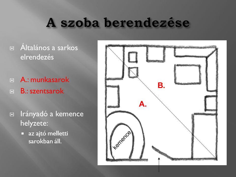  Általános a sarkos elrendezés  A.: munkasarok  B.: szentsarok  Irányadó a kemence helyzete:  az ajtó melletti sarokban áll. A. B. kemence