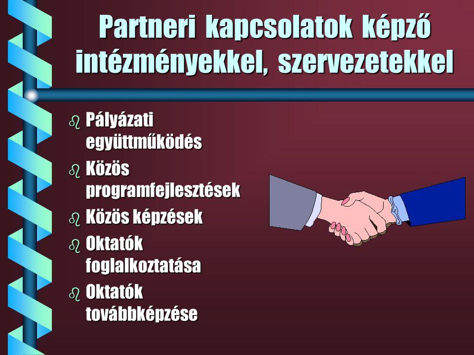 Partneri együttműködés a kistérségekben b Kistérségi kapcsolatok építése b Képzési együttműködés b Pályázati együttműködés