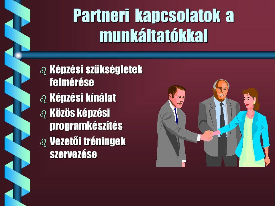 Partneri kapcsolatok a civil szervezetekkel b Pályaorientáció b Munkaerő-piaci szolgáltatások b Speciális képzések b Pályázati együttműködés