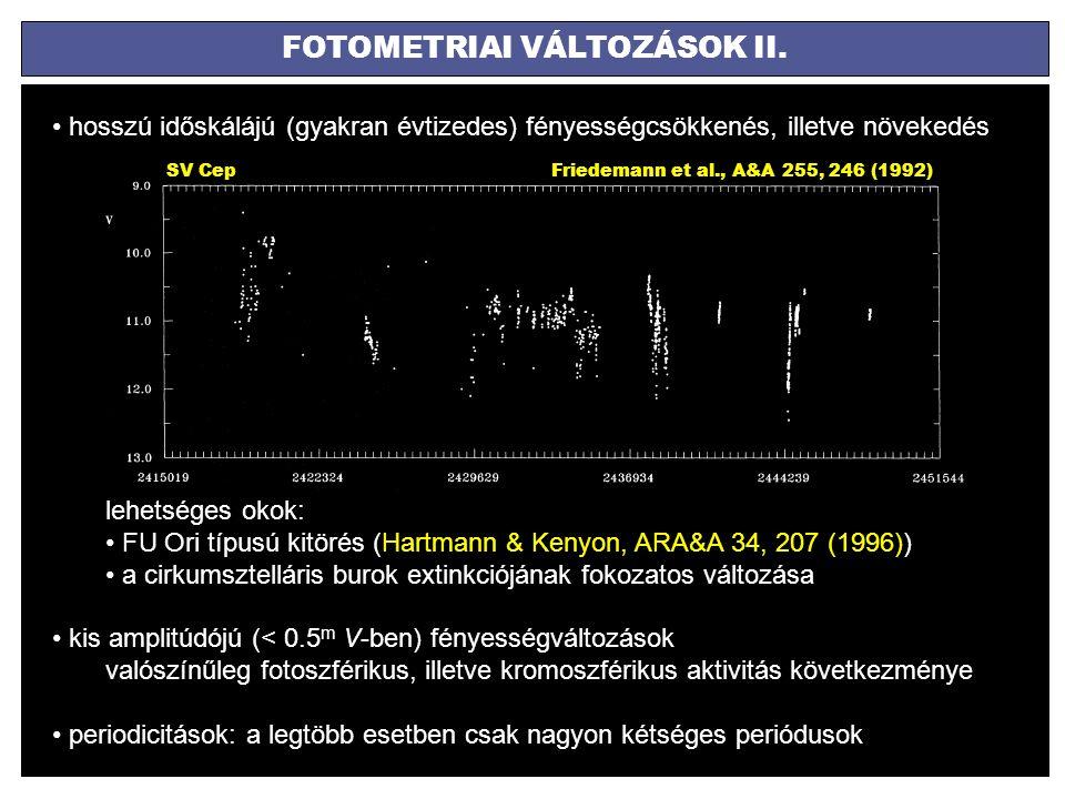 FOTOMETRIAI VÁLTOZÁSOK II. hosszú időskálájú (gyakran évtizedes) fényességcsökkenés, illetve növekedés lehetséges okok: FU Ori típusú kitörés (Hartman