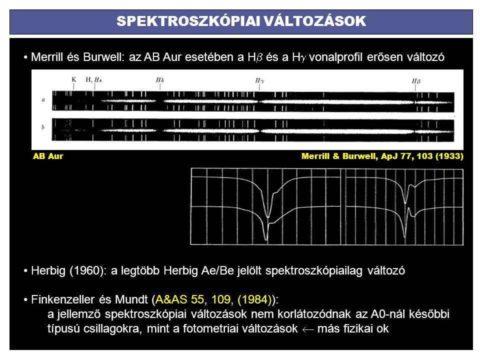 SPEKTROSZKÓPIAI VÁLTOZÁSOK Merrill és Burwell: az AB Aur esetében a H  és a H  vonalprofil erősen változó Merrill & Burwell, ApJ 77, 103 (1933)AB Au